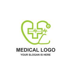 medical healthcare stethoscope cross logo vector image