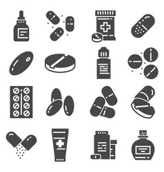 medical pills capsules and bottles icons vector image