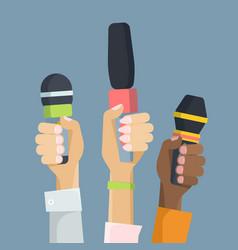 multiethnic journalists holding microphones flat vector image