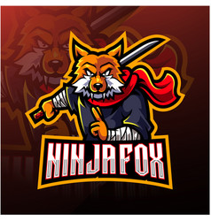 Ninja fox esport mascot logo design vector