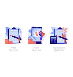 Paper tax filing concept metaphors vector