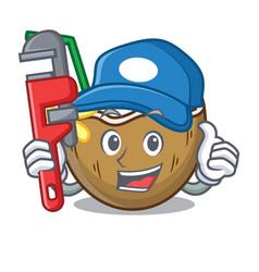 Plumber cocktail coconut mascot cartoon vector