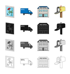 Postal building structure and other web icon in vector