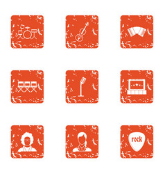 Recital icons set grunge style vector