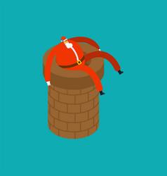 santa claus on chimney pipe christmas holidays vector image