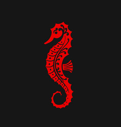 seahorse silhouette sketch for your design vector image