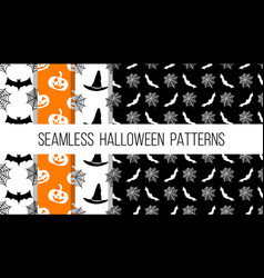seamless halloween style patterns set vector image