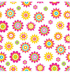 seamless pattern springtime flowers cartoon vector image