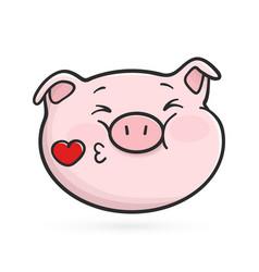 Sending a kiss emoticon icon emoji pig vector
