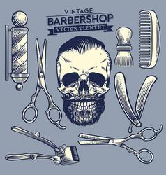 set barbershop and skull element vector image