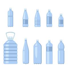Set color flat plastic bottle icons water vector