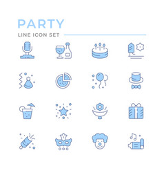 set color line icons party vector image