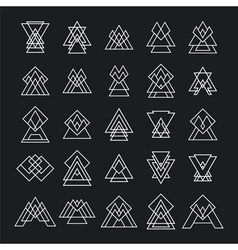 Set of 25 trendy geometric shapes Hipster retro vector image