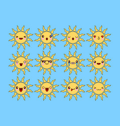 set of different smiling yellow sun isolated on vector image