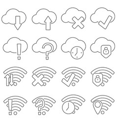 set of icons in line style cloud and wifi vector image