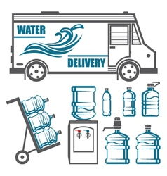 Set of images for water delivery vector