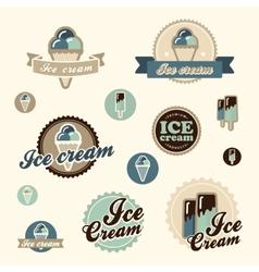 Set of vintage ice cream vector