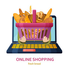 shopping online banner bakery products background vector image