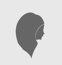 silhouette girl religion prayer head with scarf vector image