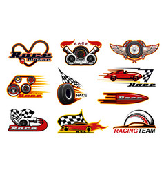 Sport racing motor races icons vector