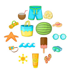 summer items icons set cartoon style vector image