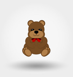 teddy bear baby with red bow icon flat vector image
