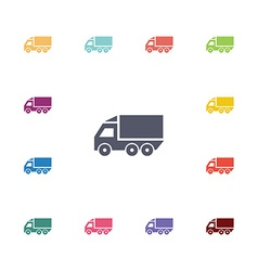 truck flat icons set vector image
