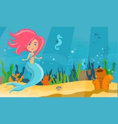 Underwater world of mermaid fish and sea horses vector