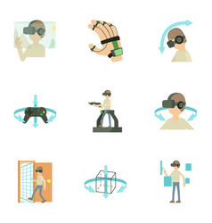 Virtual reality game icons set cartoon style vector