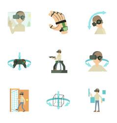 Virtual reality game icons set cartoon style vector