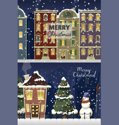 Winter landscape with christmas houses firtree vector