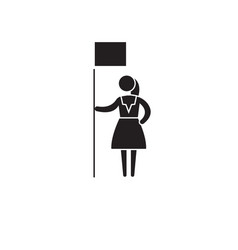 Woman rights black concept icon woman vector