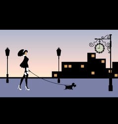 woman walking with a dog vector image
