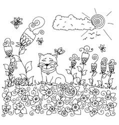 Zen tangl cat sitting in the vector image