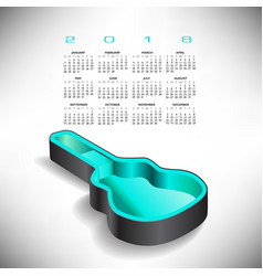 2018 guitar case music calendar vector image