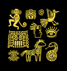 aztec ancient animal golden symbols vector image