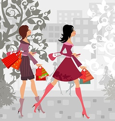 fashion girls with purchase in city for your vector image vector image