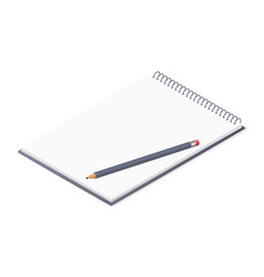 opened notepad with pencil sketchbook or diary vector image