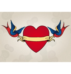 Tattoo style swallows with heart old school vector image vector image