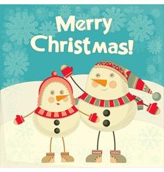 Two Cartoon Cute Snowmans vector image