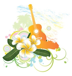 Tropical background with guitar vector image vector image