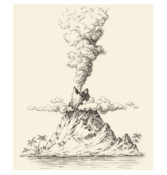 Active volcano drawing volcanic eruption vector