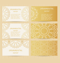 business cards 35 x 2 inch size set golden vector image