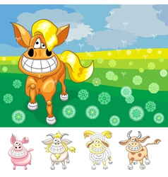 cartoon funny horse vector image