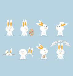 cute rabbit or bunny happy easter set vector image