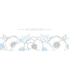 endless border of hand-drawn poppy flowers vector image