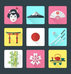 flat japan icons set vector image vector image