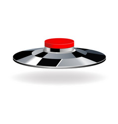 red round button with metallic border vector image