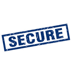 Square grunge blue secure stamp vector