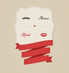 Vintage wedding invitation with lips and moustache vector image vector image